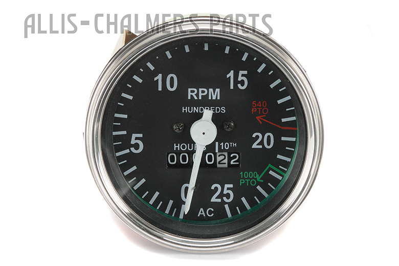 Gauge, Tachometer  0-25 Allis-Chalmers 180,185,  Late 190 (SN 20600 and up), 190XT Gas or Diesel works for  200, 210, 220