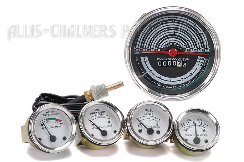 Allis Chalmers D19 Diesel /Gas Tachometer, Temp, Oil Pressure, Fuel, Amp Gauge