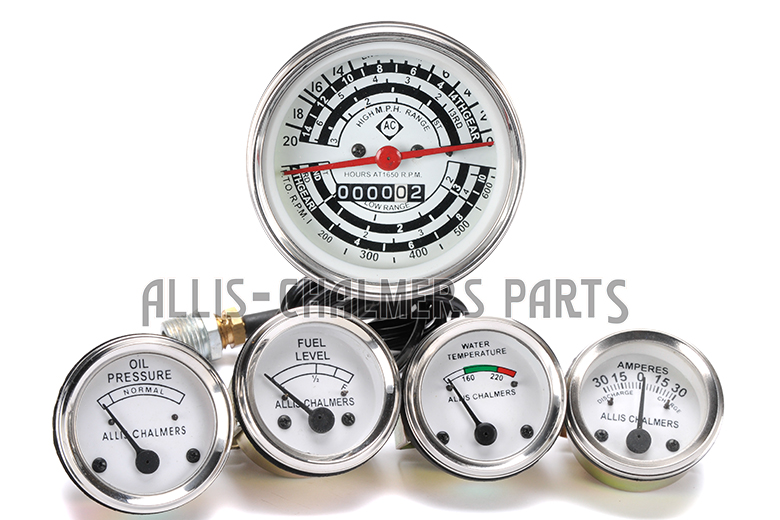 Allis Chalmers D17 Diesel Only: Tachometer,Temp, Oil Pressure, Fuel, Amp Gauge Set