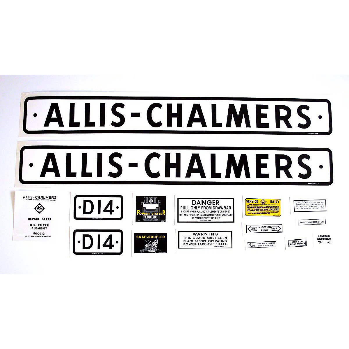 Decal Set For Allis Chalmers: D14 Series 1