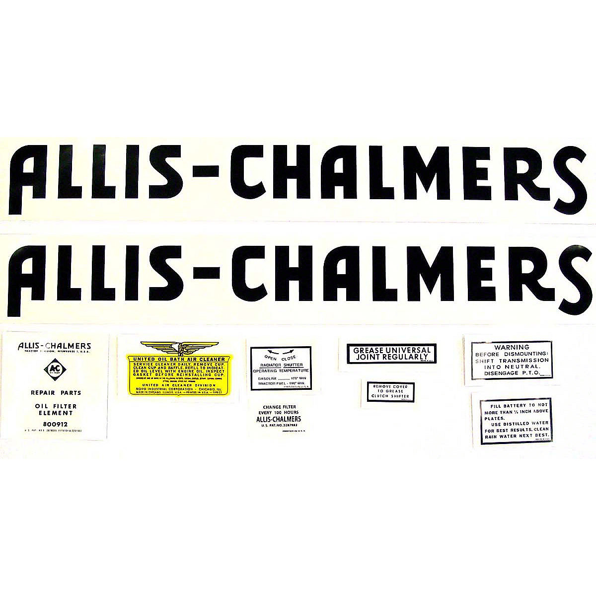Decal Set For Allis Chalmers WF 1940 and Up