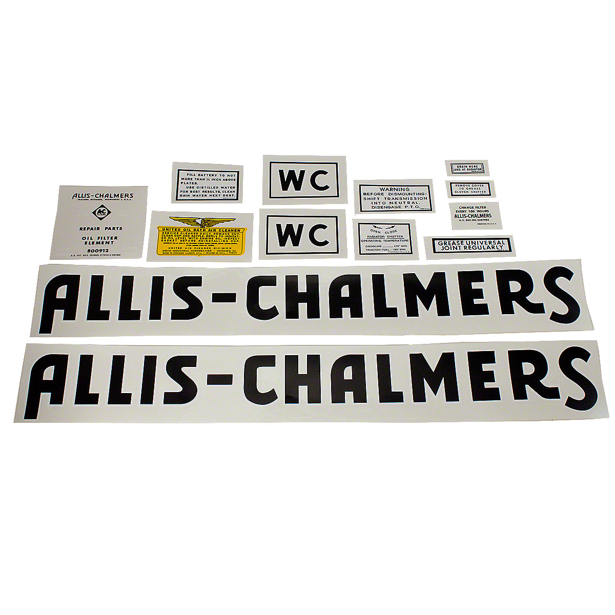 Decal Set For Allis Chalmers: WC 1941 to 1948.