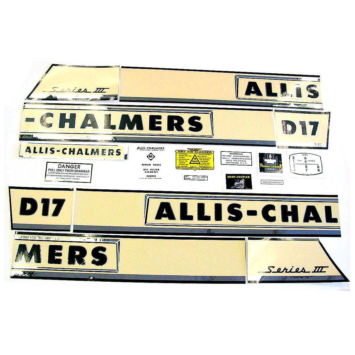 Decal Set For Allis Chalmers D17 III Series Gas Tractors 1962 to 1964 Vinyl Only