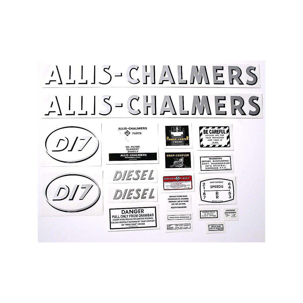 Decal Set For Allis Chalmers D17 Diesel