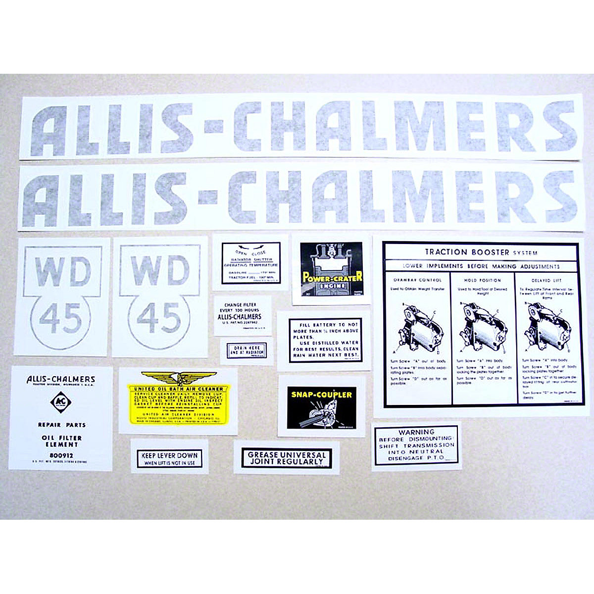 Vinyl Cut Decal Set For Allis Chalmers: WD45.
