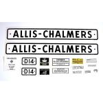 Decal Set For Allis Chalmers: D14 Series 1 SN#:19001 & UP, 1959