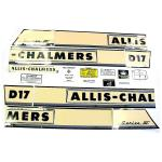 Decal Set For Allis Chalmers D17 III Series Gas Tractors 1962 to 1964 SN#: 42001 to 72768. Replaces Allis Chalmers PN#: 237554