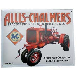 Allis Chalmers U Metal Sign