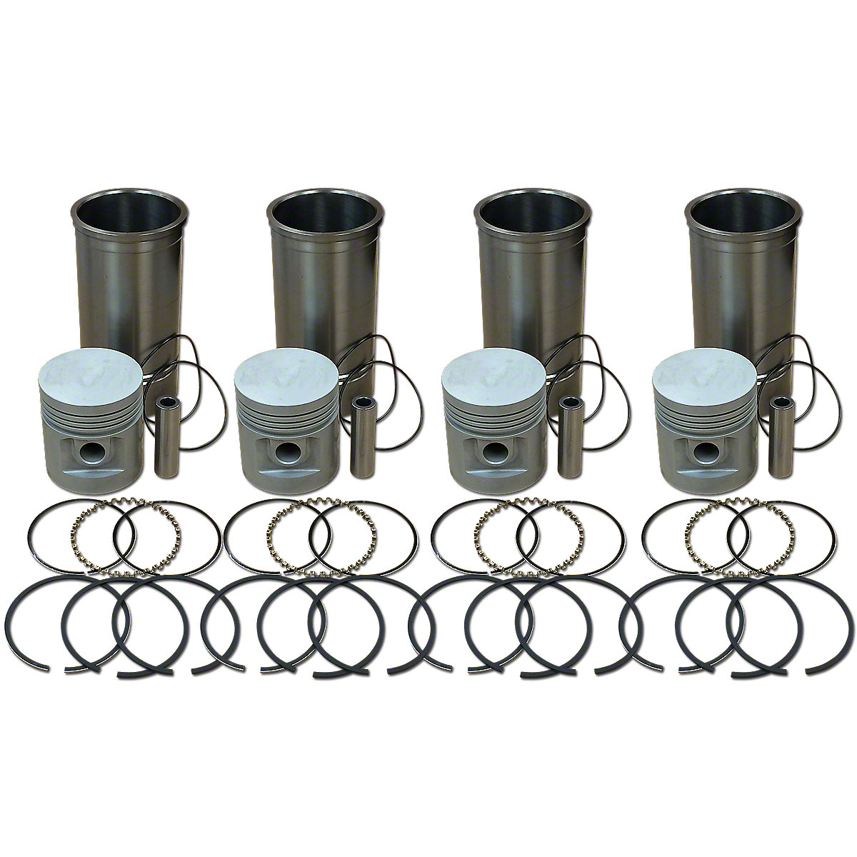 4 Cylinder Piston and Sleeve Kit For Allis Chalmers: WC, WD, WF.