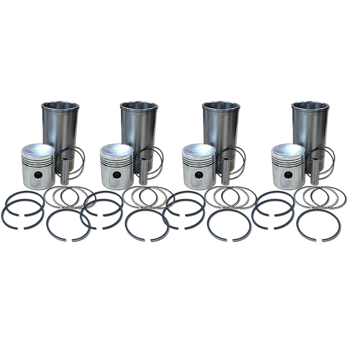 4 Cylinder Piston And Sleeve Kit For Allis Chalmers: D17, WD 45, 170, 175.