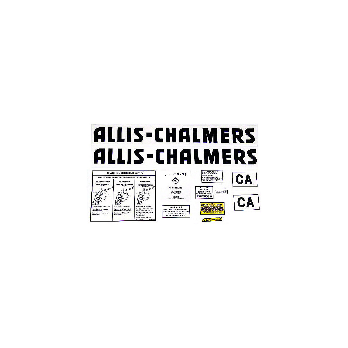 Decal Set For Allis Chalmers: CA
