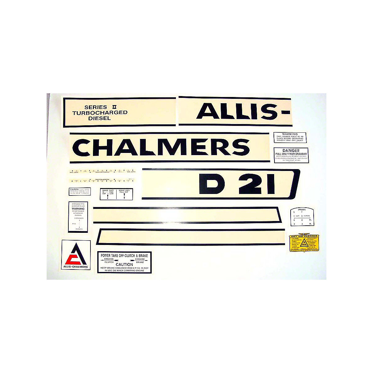 Decal Set For Allis Chalmers: D21 II Series Tractors 1965 To 1969