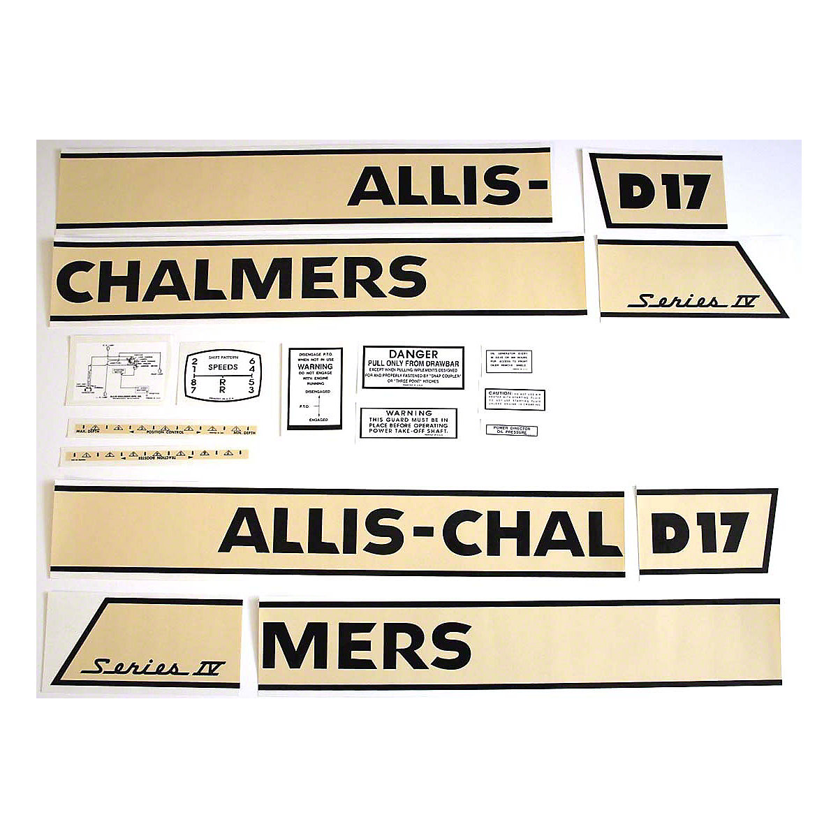 Decal Set For Allis Chalmers D17 Series IV Gas Tractors 1964 And Up