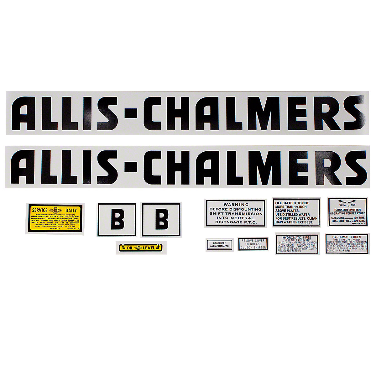 Decal Set For Allis Chalmers B.
