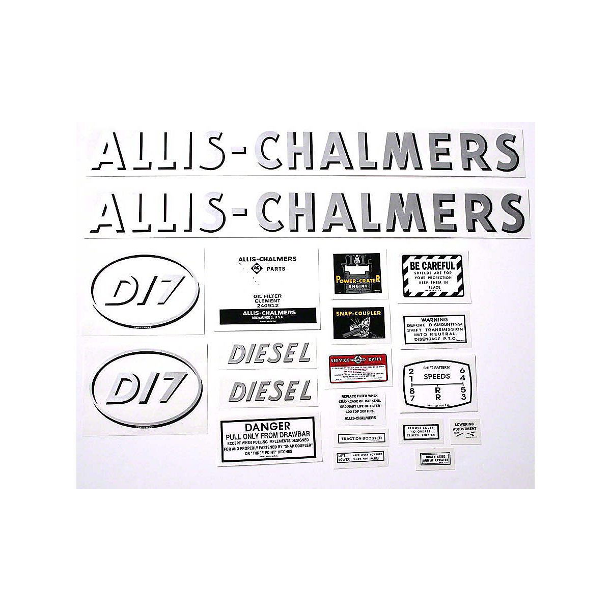 Decal Set For Allis Chalmers D17 Diesel