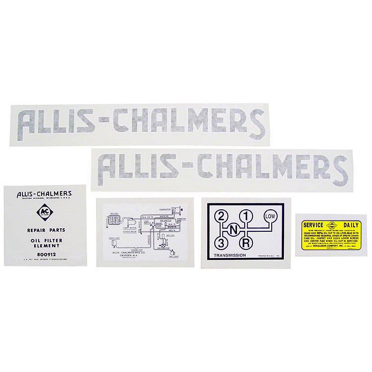 Vinyl Cut Decal Set For Allis Chalmers: G.