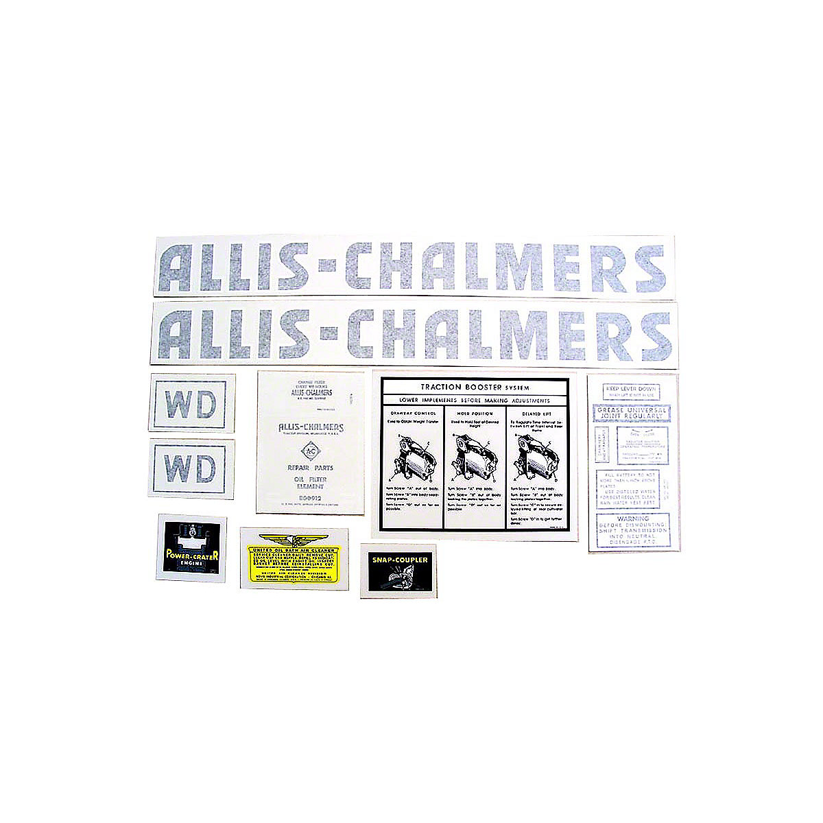 Vinyl Cut Decal Set For Allis Chalmers: WD