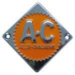 Front Nose Emblem For Allis Chalmers: D10, D12 Up to SN#: 1950, D14 Upt to SN#: 19000, D17 Up to SN#: 24000, I40, I400, I60. Replaces Allis Chalmers PN#: 70228474, 228474.